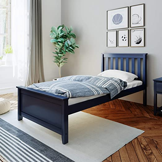 Amazon Com Max Lily Solid Wood Twin Size Bed Blue Furniture Decor