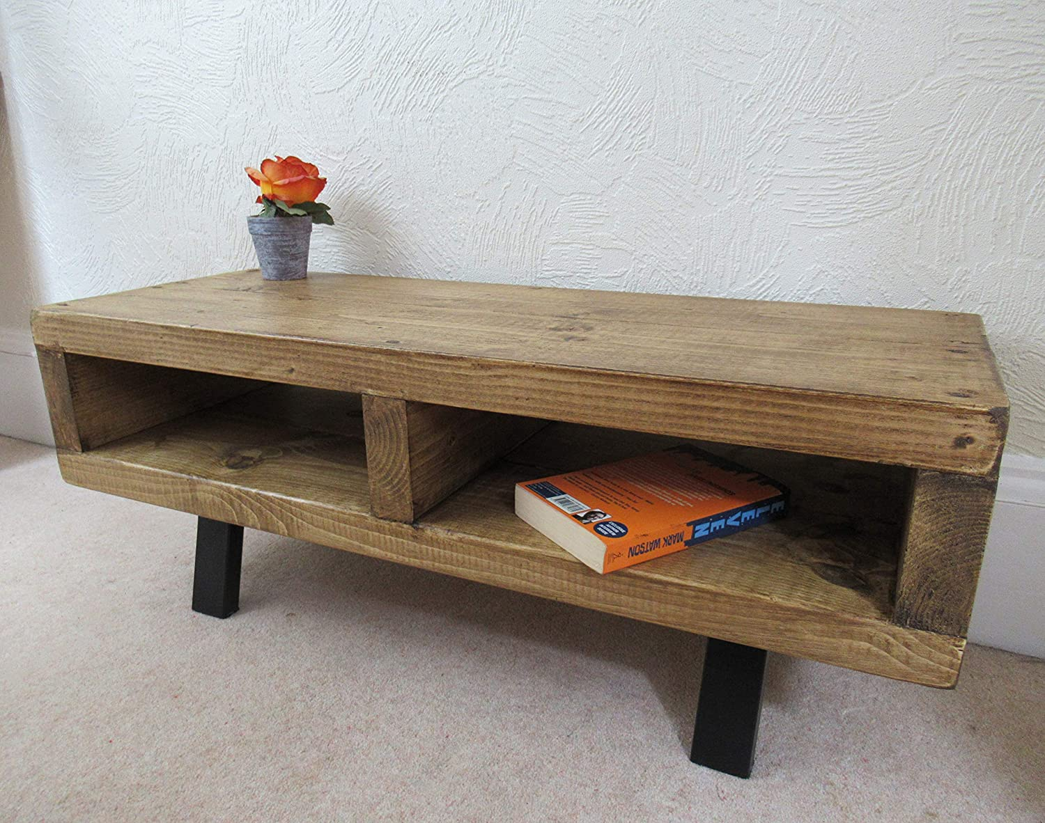Tv Stand Contemporary For Living Room Rustic Wood Tv Unit Black Legs Amazon Co Uk Handmade