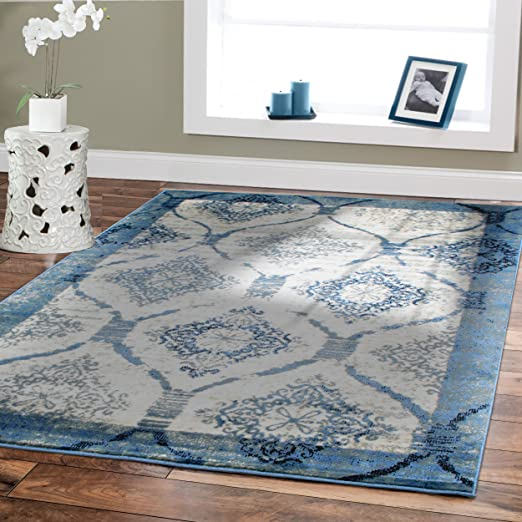 Amazon Com Small Rugs For Living Room 2x3 Door Mats Indoor Blue Cream Black Grey Foyer Rugs Blue Rug For Bathroom Mat 2 By 3 Furniture Decor