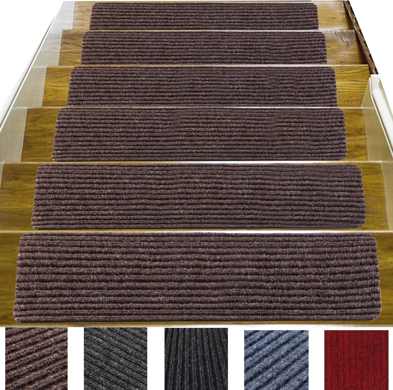 14 Pack 8 X 30 Non Slip Stair Treads Carpet Indoor Anti Slip   Non Skid Carpet Stair Treads   Stair Runner   Bullnose Carpet   Flooring   Adhesive   Amazon
