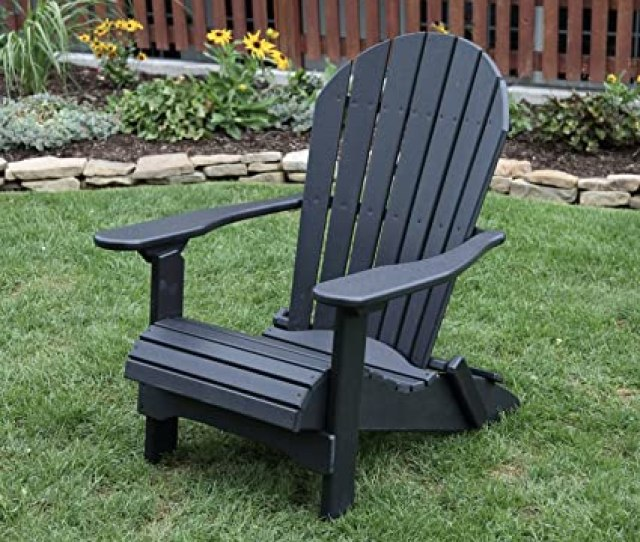 Amazon Com Black Poly Lumber Folding Adirondack Chair With Rolled Seating Heavy Duty Everlasting Lifetime Polytuf Hdpe Made In Usa Amish Crafted