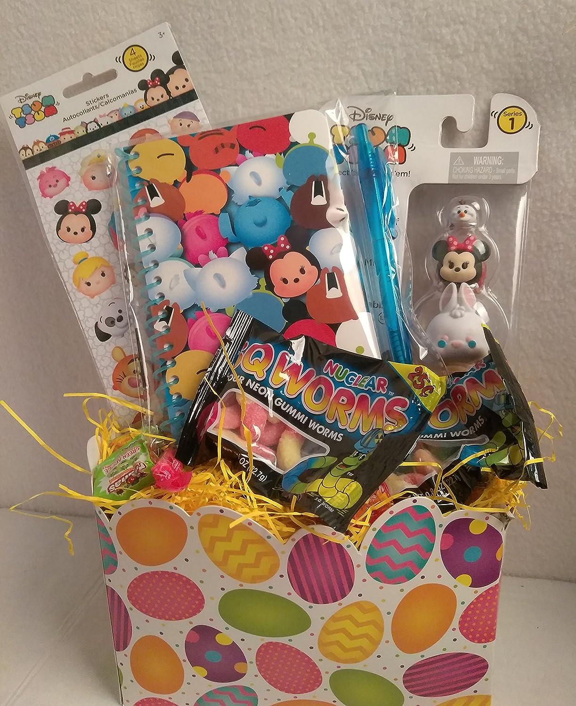 Happy Girls TSUM TSUM Figure Easter Basket Kids Toddlers Gift Children Pre Made Eggs Goodies Candy Plush Disney