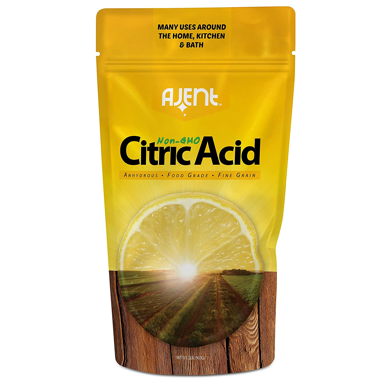 Ajent Citric Acid 100% Pure Food Grade Non-GMO (Approved for Organic Foods) 2 Pound