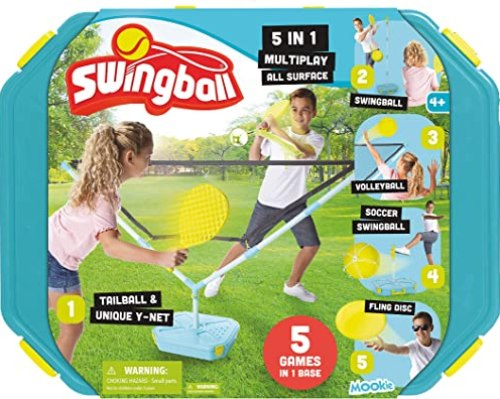 Swingball 5 in 1 Outdoor Game Set - Includes Tether Tennis, Volleyball, Tether Soccer, Tailball & Flying Disc