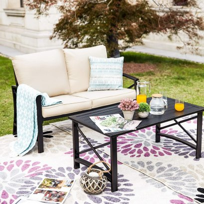 2 Pieces Patio Loveseat Metal Frame with Coffee Table