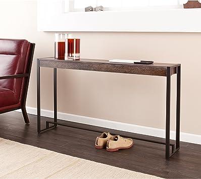 Amazon Com Sei Furniture Macen Narrow Skinny Console Table 54 Burnt Oak Black Furniture Decor