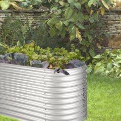 Blumfeldt High Grow • Hochbeet • Gartenbeet • Gemüsebeet • für Blumen, Kräuter und Gemüse • 200 x 80 x 100 cm (BxHxT) • angenehme Arbeitshöhe • Stahl-Wellblech • Zink-Alu Beschichtung • hohe Witterungsbeständigkeit • schnelle Montage • silber