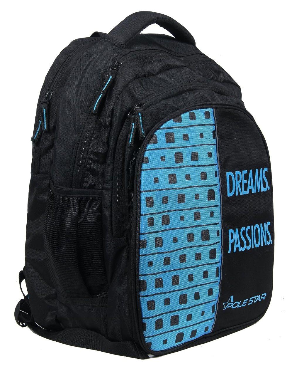 Big 4 Compartment 40 Lt Black Blue Laptop/Casual/Travel Backpack School under Polestar Travel Bag