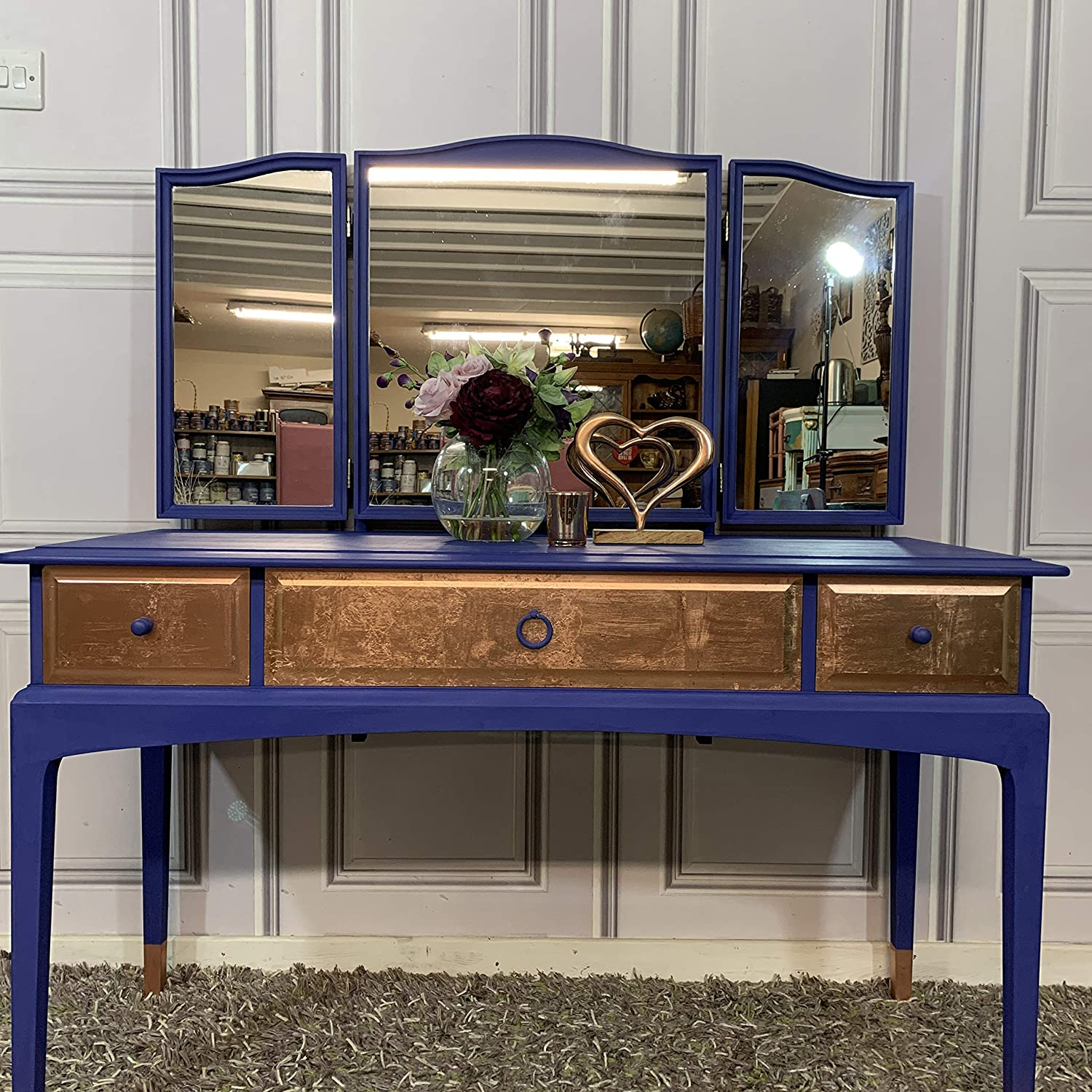 Stag Dressing Table With Mirror Professionally Painted Blue Rose Gold Amazon Co Uk Handmade