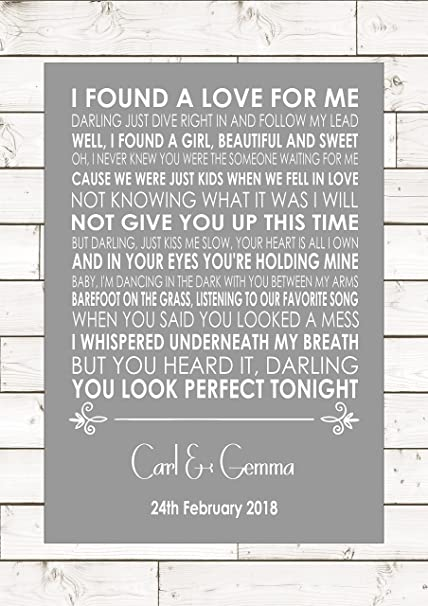 Perfect Ed Sheeran Wedding Anniversary Engagement Song Personalised First Dance Lyric Lyrics A4 21cm X 29 7cm Unframed Print Amazon Co Uk Kitchen