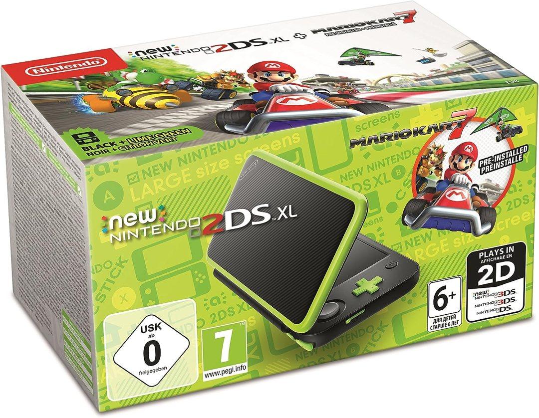 New Nintendo 2DS XL - noir/Citron & Mario Kart 7 Préinstallé