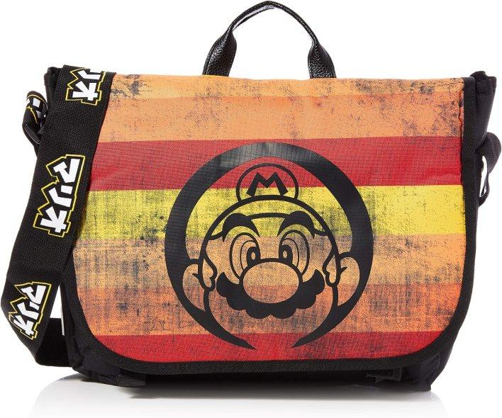 Nintendo Super Mario Bros. - Distressed Retro Striped Messenger Bag, Unisex adulto, Multicolor (Multicolour)