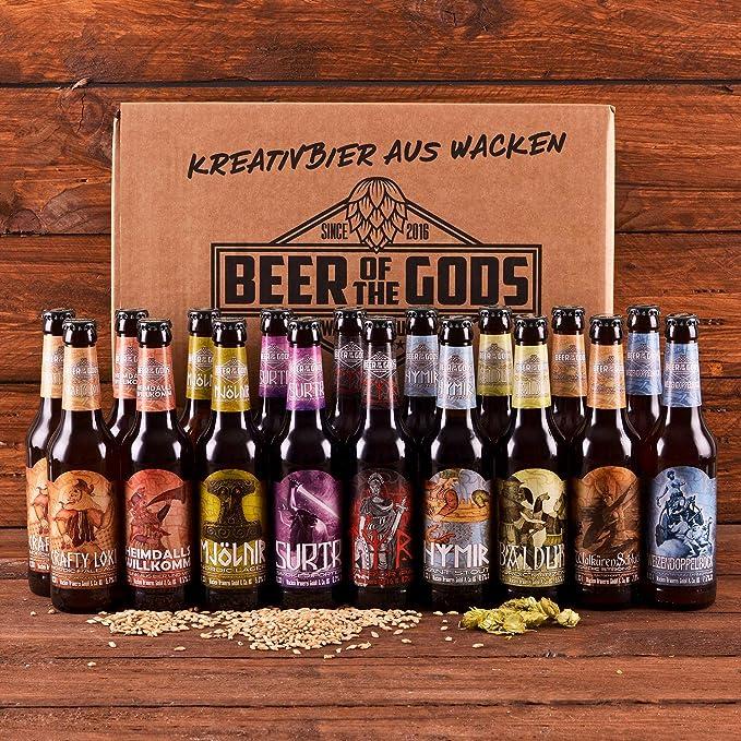 Wacken Brauerei Göttergabe - Pack de regalo de cervezas caseras - Set de degustación - 18 Cervezas de los dioses (de 0,33 l cada una)