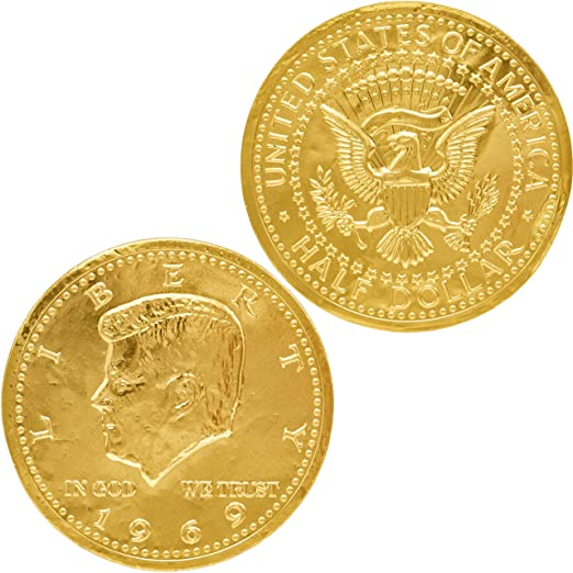 Chocolate Large Half Dollar Gold Coin Gold Belgian Milk Chocolate Coin Kosher (50 Large Half Dollar Coins)