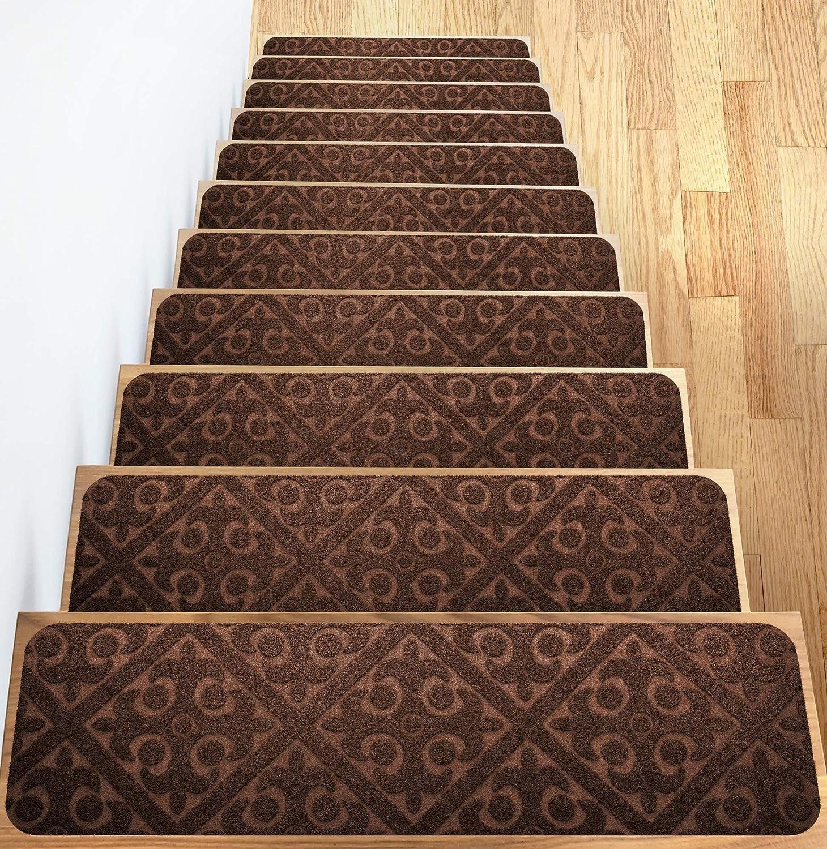 Carpet Stair Treads Set Of 13 Non Slip Skid Rubber Runner Mats Or   Non Slip Carpet For Stairs   Trim   Laminate   Wood End Cap   Step   Rubberized