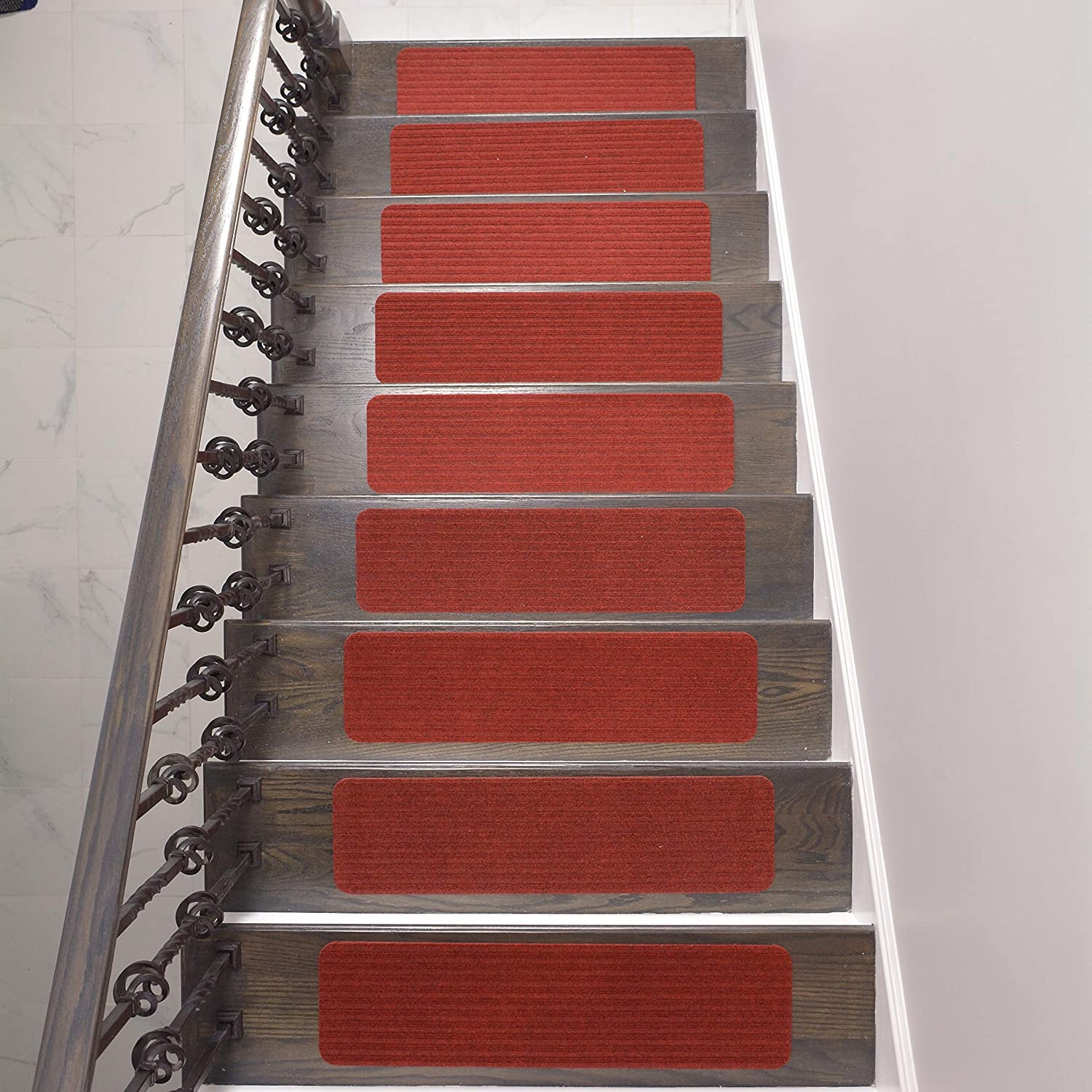 Amazon Com Stair Treads Collection Indoor Skid Slip Resistant | Dark Carpet On Stairs | Gray | Monochrome | Wall | Modern | Metal Bar On Stair