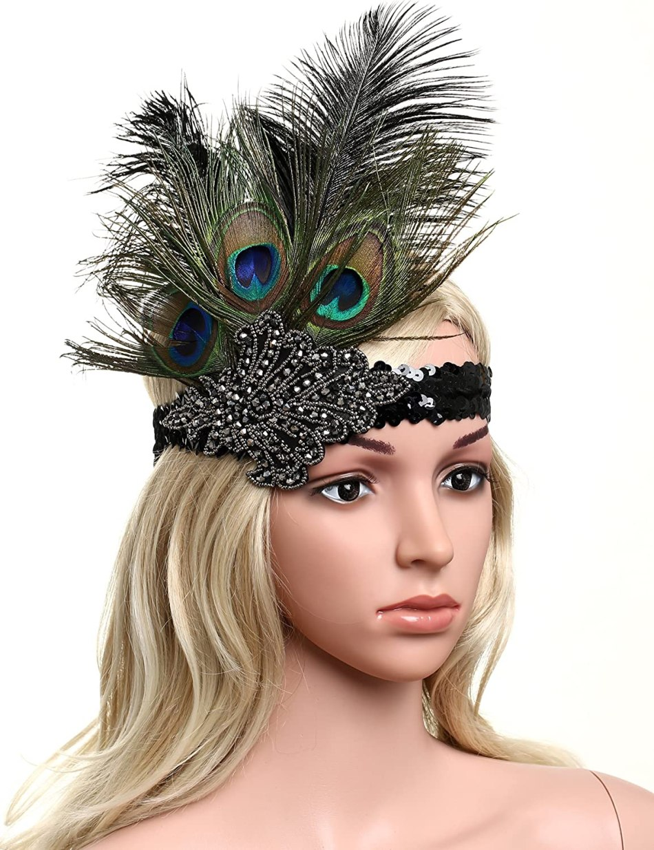 BABEYOND Roaring 20's Sequined Showgirl Flapper Headband with peacock Feather Plume