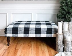 Design 59 Buffalo Check Ottoman, Black and White Plaid