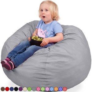 Oversized Bean Bag Chair in Steel Grey - Machine Washable Big Soft Comfort Cover