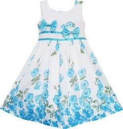 Sunny Fashion EY75 Big Girls' Dress Blue Flower Double Bow Tie Summer Camp 11-12