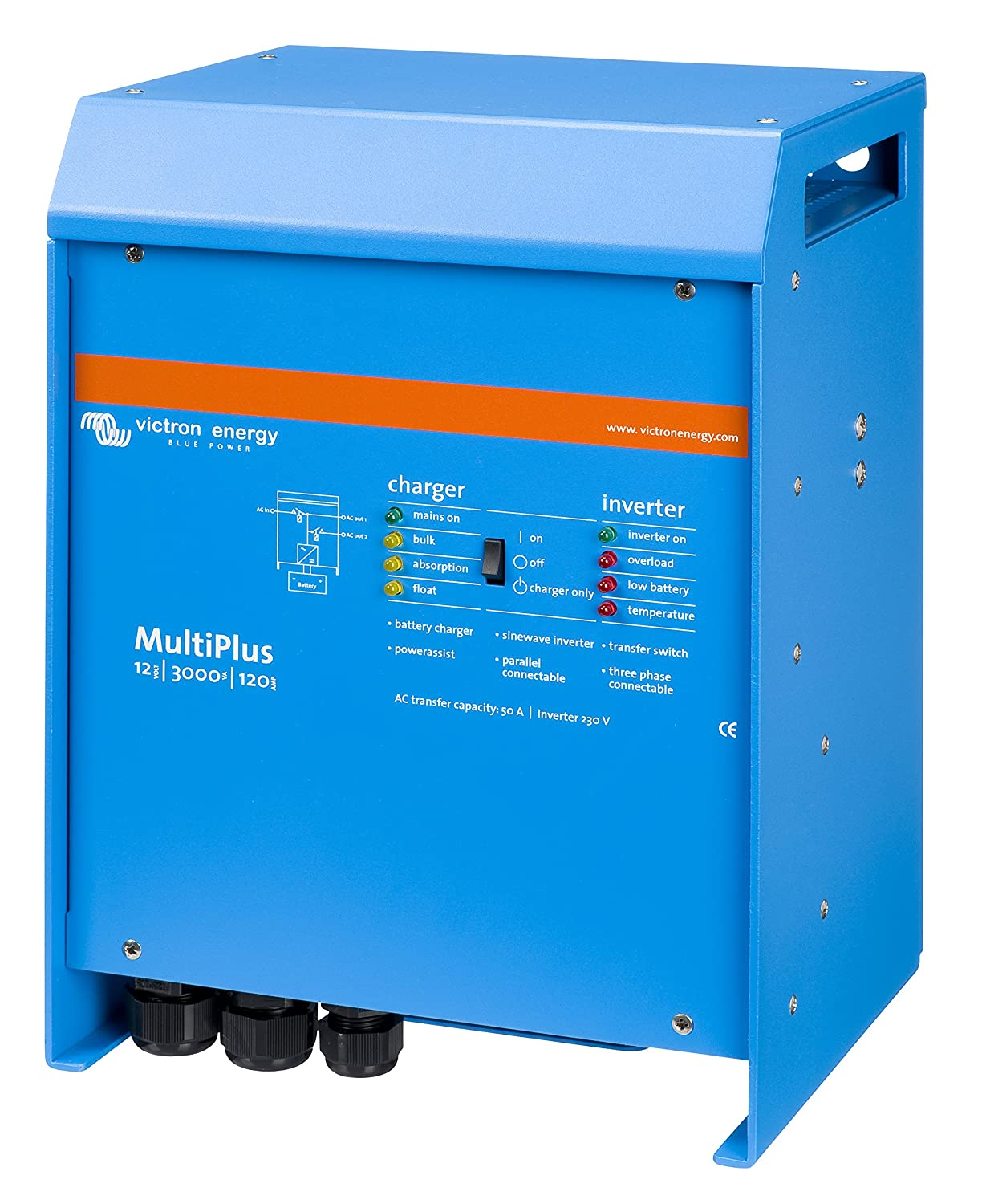 MultiPlus 3000 / 12v – Victron Energy Our inverter/charger on our bus is the Victron MultiPlus – we love the power assist mode, and it's programmable to our lithium ion batteries.