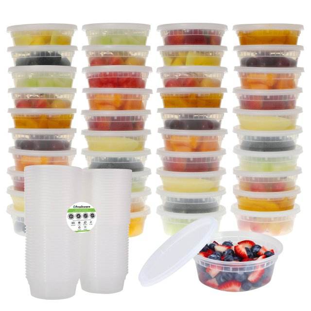 40-Pack 8 oz Plastic Food Storage Containers for Cups, Foodsavers, Baby, Lunch 2