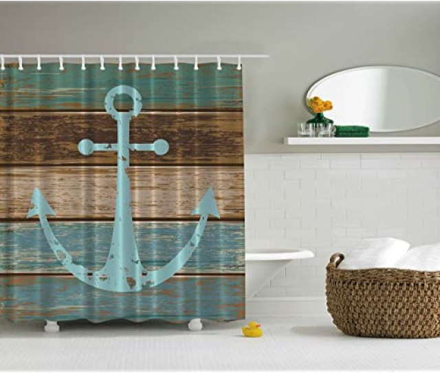 Ambesonne Nautical Anchor Rustic Wood Shower Curtain Water Soap And Mildew Resistant