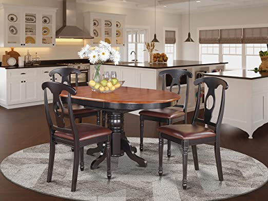 Amazon Com 5 Pc Dining Room Set For 4 Oval Dining Table And 4 Dining Chairs Table Chair Sets