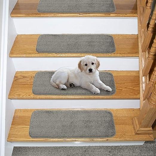 Amazon Com Ottomanson Comfort Soft Sh*G Carpet Stair Treads 14   Plush Carpet Stair Treads   Dog Cat Pet   Iron Frost   Carpet Runners   True Bullnose Carpet   Bullnose