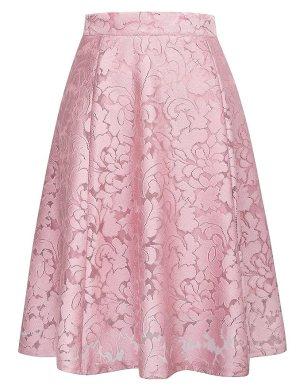Women's High Waist A-line Skirt Pleated Knee Length Midi Skirt Size L Pink