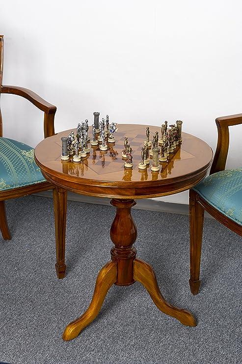 Tavolino Scacchi Da Tavolo Da Gioco In Legno Di Mogano Nuovo