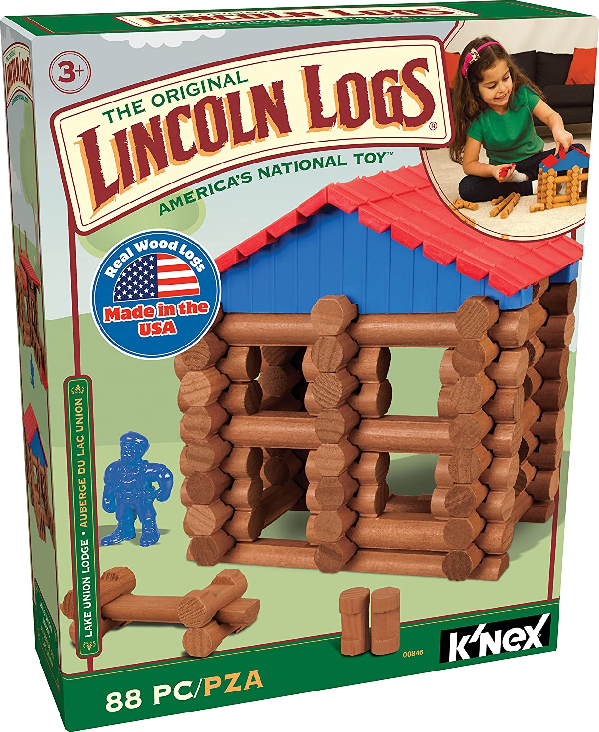 LINCOLN LOGS – Lake Union Lodge – 88 Pieces –