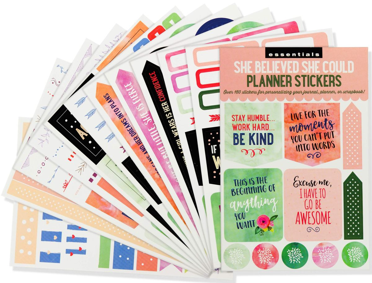 Essential Weekly Planner Stickers - She Believed She Could (Set of 160 Stickers) 1