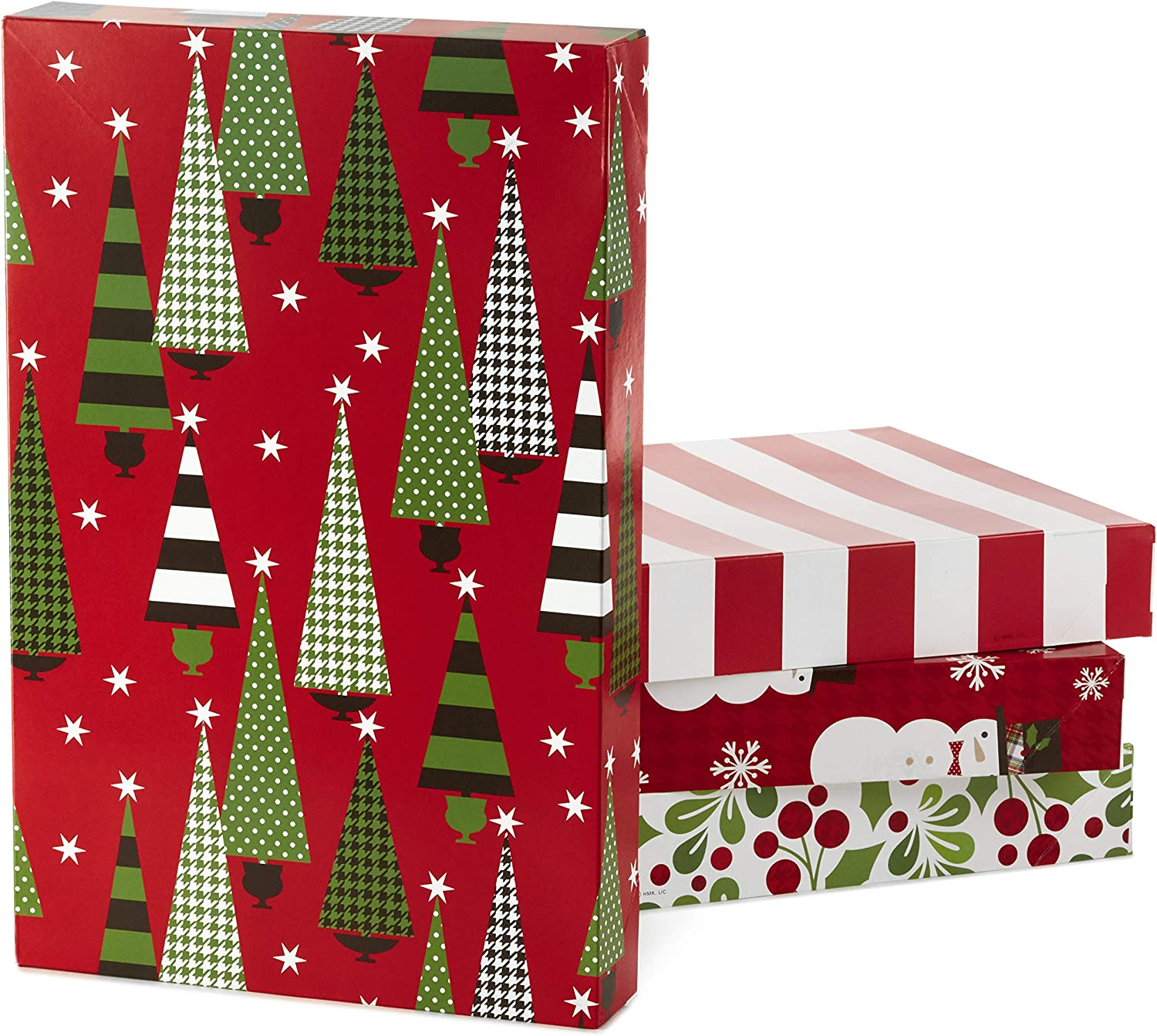 Amazon Com Hallmark Christmas Gift Box Assortment Pack Of 12 Patterned Shirt Boxes With Lids For Wrapping Gifts Kitchen Dining