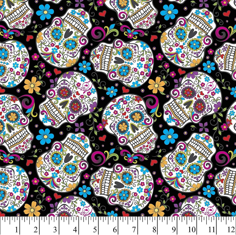 Amazon Com David Textiles Sugar Skulls Folkloric Black Cotton Fabric By The Yard
