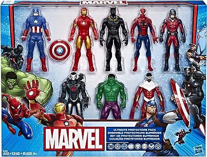 Amazon Com Marvel Avengers Action Figures Iron Man Hulk Black Panther Captain America Spider Man Ant Man War Machine Falcon 8 Action Figures Toys Games