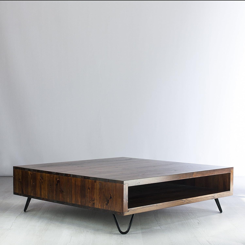 Vintage Retro Low Box Coffee Table Metal Hairpin Legs Height Options Solid Wood Shelf Rustic Jacobian Dark Wood Finish Amazon Co Uk Handmade