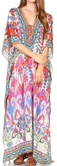 Sakkas 17202 - LongKaftan Georgettina Ligthweight Printed Long Caftan Dress/Cover Up - 17202-Multi -OS