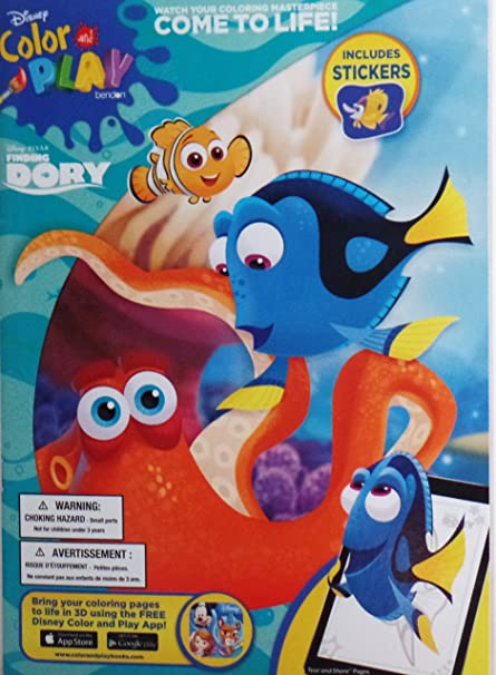 Amazon Com Disney Finding Dory Color And Play Coloring Book With Stickers Toys Games