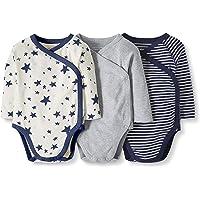 Moon and Back by Hanna Andersson - Confezione di 3 body da neonato, in cotone biologico, a maniche lunghe, con bottoni laterali
