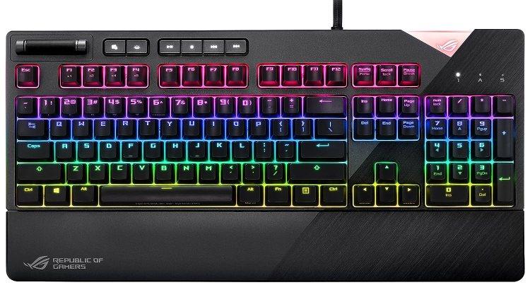 ASUS ROG Strix Flare - Teclado mecánico RGB (de gaming, interruptores Cherry MX, insignia iluminada personalizable, iluminación RGB, y controles multimedia) gris acero