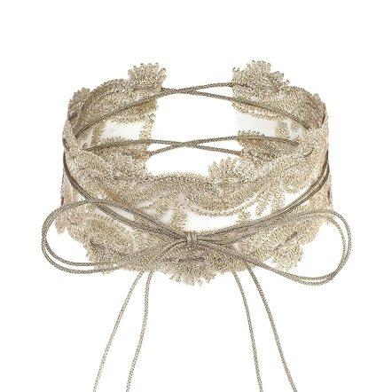 Lux Accessories Tan Beige Lace Long String Tie BowWrap Choker Necklace