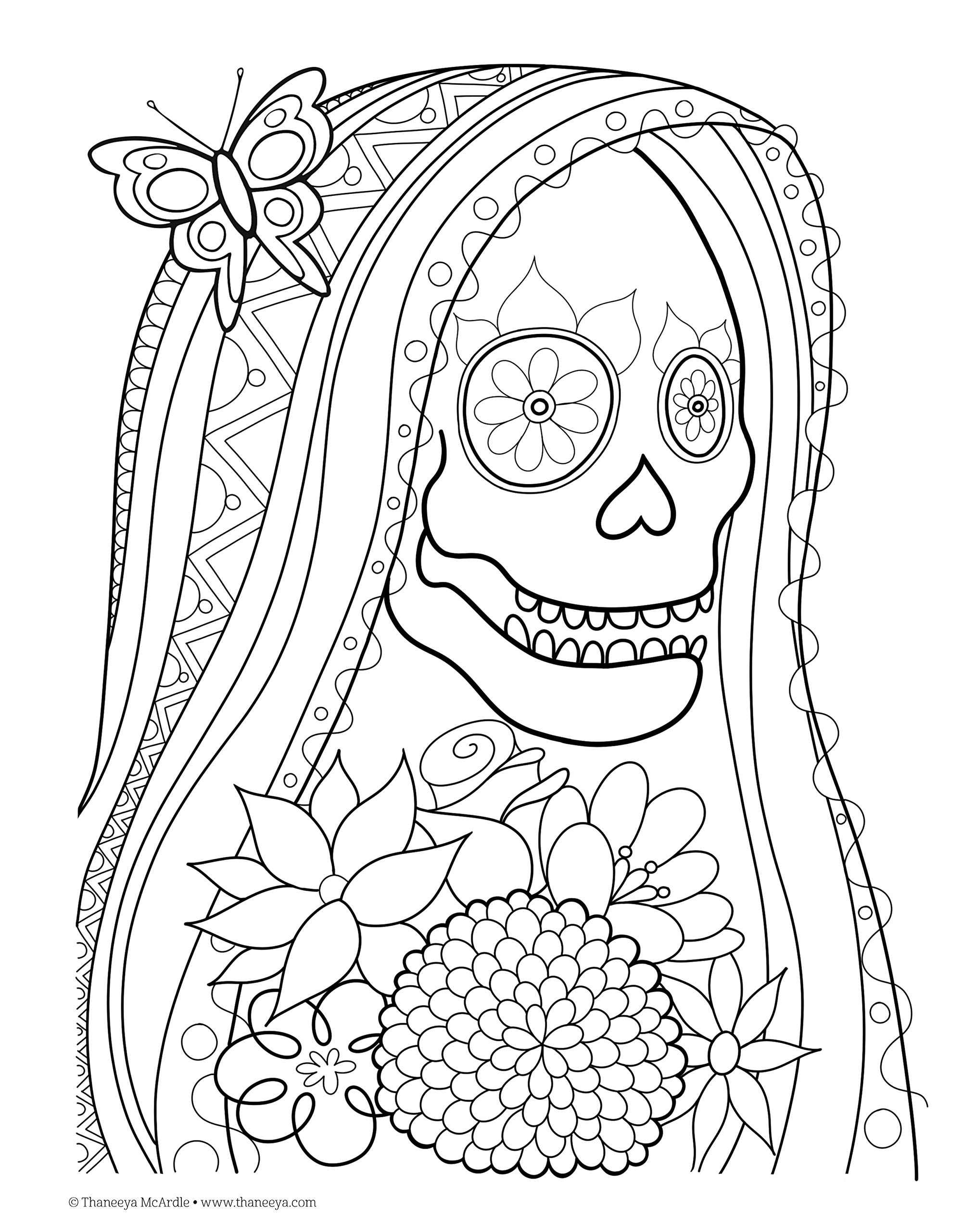 Amazon Com Day Of The Dead Coloring Book Coloring Is Fun Design Originals 30 Beginner Friendly Creative Art Activities With Sugar Skulls Extra Thick Perforated Paper Resists Bleed Through 8656116169982 Mcardle Thaneeya Books