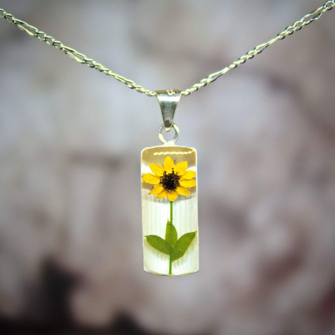 Sterling Silver Necklace with a Real Natural Pressed Miniature