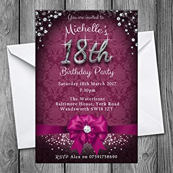 18th Birthday Party Invitations Bow Sparkle 6 Colours Personalised Click Customize Now