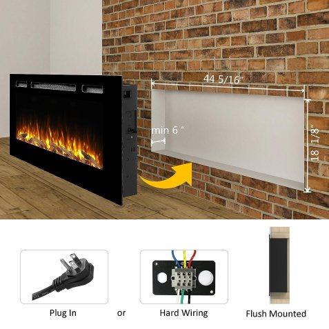 "PuraFlame Alice 48"" Recessed Electric FireplaceBlack Friday Deals"