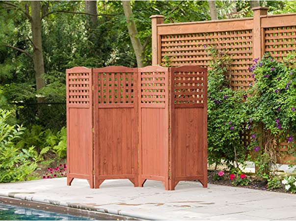 Amazon Com Leisure Season Ps9662 Folding Patio And Garden Privacy Screen Brown 1 Piece Portable Wooden Enclosure And Backyard Fence Panels Indoor Outdoor Decks Balcony Room Dividers And Wall