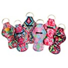 Chapstick Holder Keychain, New Cute Design Neoprene Lip Balm Keychain Holder (Multicolor 6 Pack)