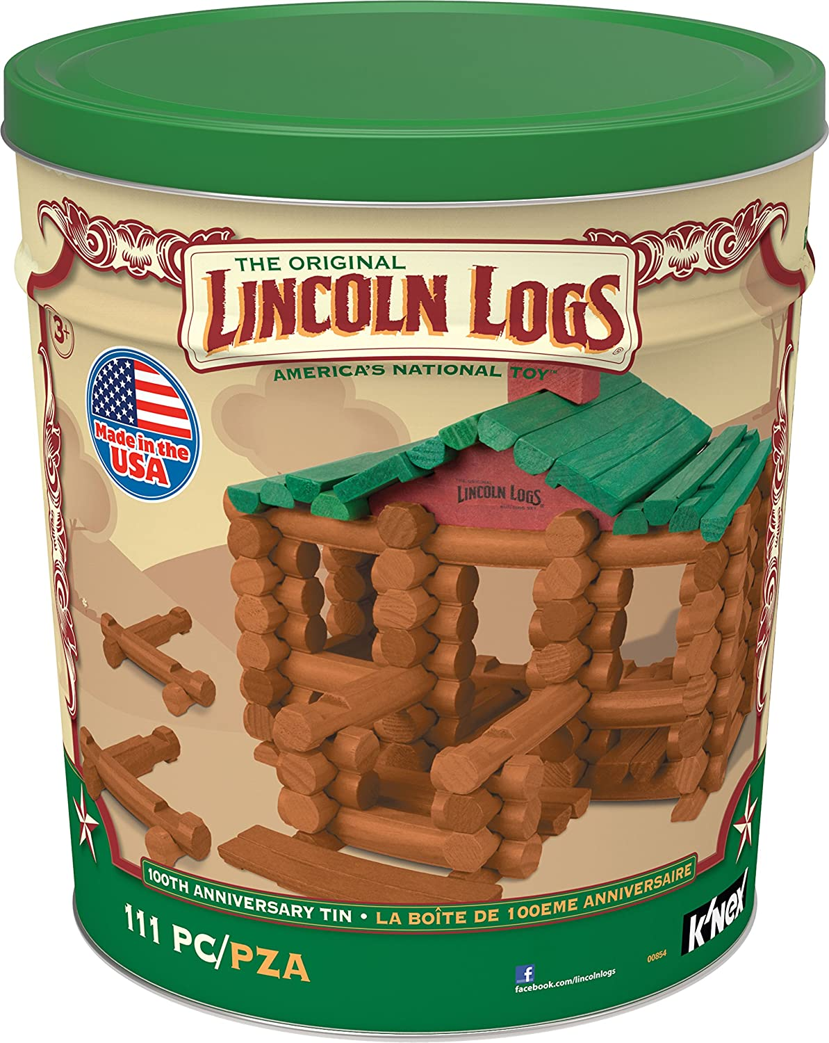 LINCOLN LOGS – 100th Anniversary Tin - 111 All-Wood Pieces