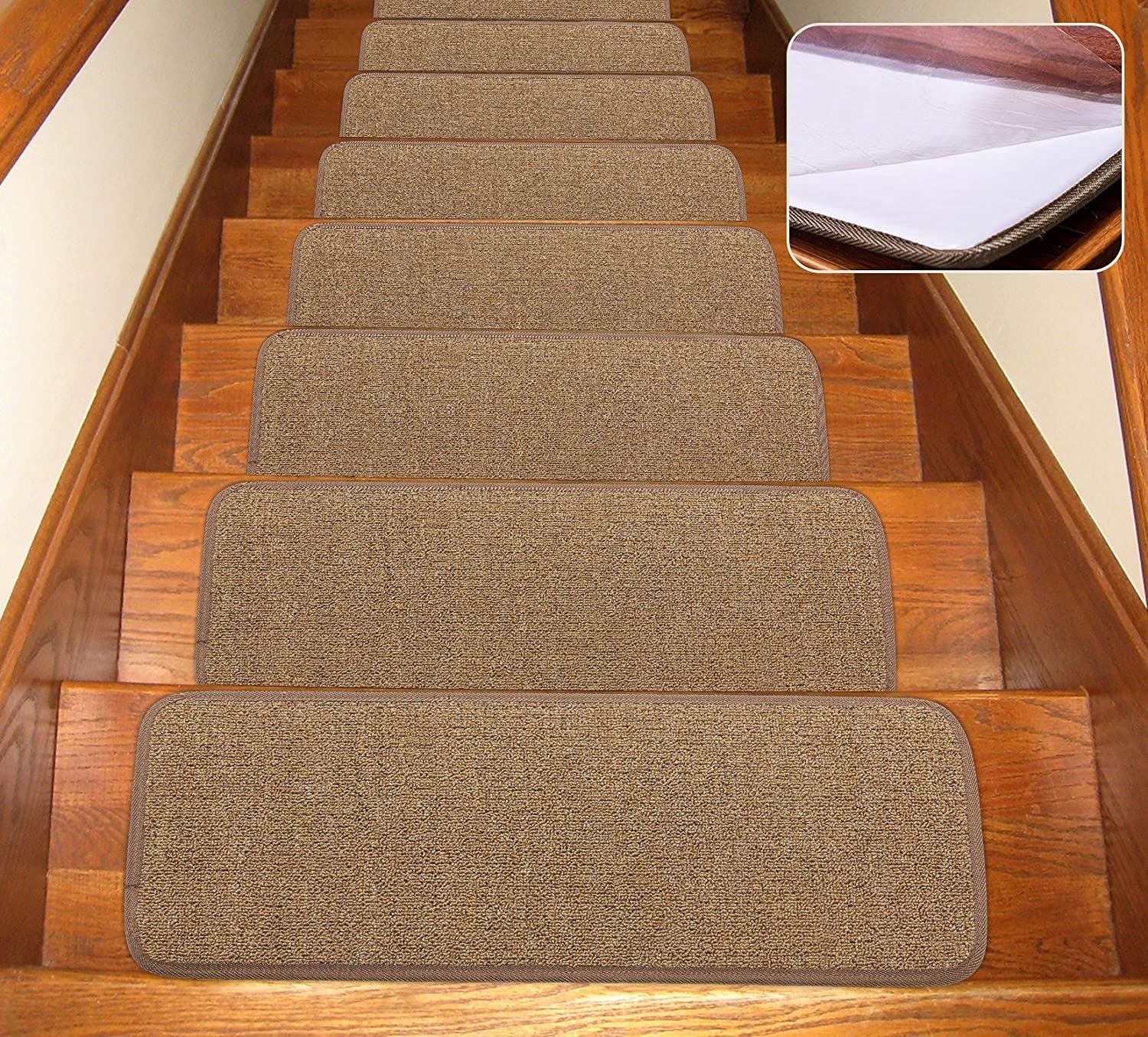 Seloom Stair Treads Carpet Non Slip With Skid Resistant Rubber   Converting Carpeted Stairs To Hardwood   Stair Case   Treads   Staircase Makeover   Stain   Wood Flooring